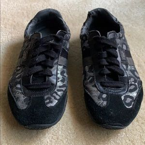 Coach Sparkly Silver & Black Leopard Sneakers
